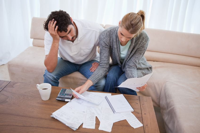 Couple dealing with debt